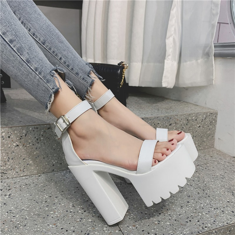 Ericdress Chunky Heel Open Toe Zipper Thread Sandals