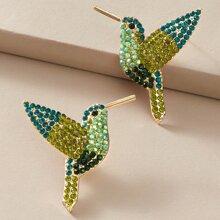 1 par pendientes de tachuela con diseño de pajaro grabado con diamante de imitacion