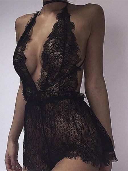 Yoins Black See-through V-neck Backless Sweet Lace Bodysuit