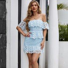 Yilibasha Off Shoulder Ruffle Trim Guipure Lace Dress