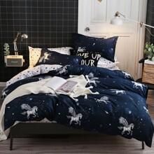 Set de cama con estampado de caballo sin relleno