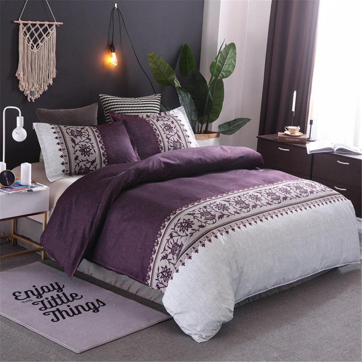3Pcs Floral Doona Quilt Duvet Cover Set Double Queen King Size Bed Linen Pillowcases