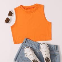 Plus Neon Orange Crop Tank Top