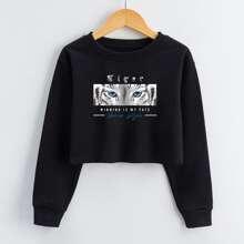 Girls Tiger And Slogan Graphic Sweatshirt