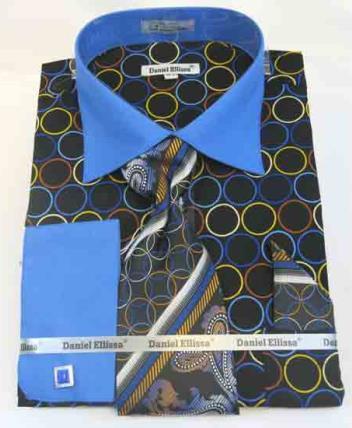 Bold Circle Multi Pattern Cotton French Cuff Black Blue Dress Shirt