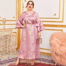 Jacquard Kleid mit mehrschichtigen Schosschenaermeln, Quasten, Guertel und Blumen Muster