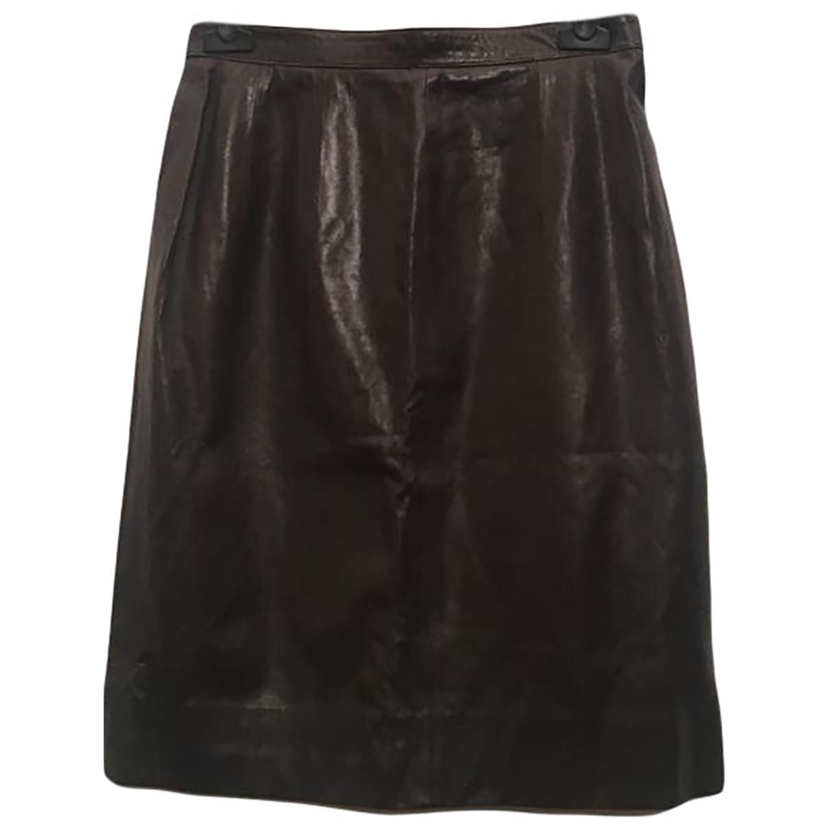 Falda midi de Cuero Celine