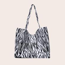 Zebra Pattern Shopper Bag