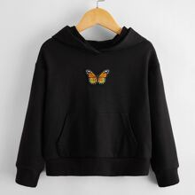 Toddler Girls Butterfly Embroidery Hoodie