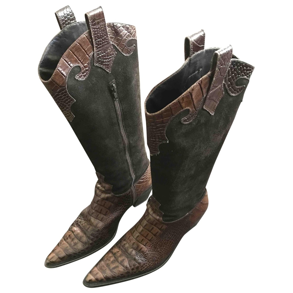 Non Signé / Unsigned \N Brown Suede Boots for Women 39.5 EU