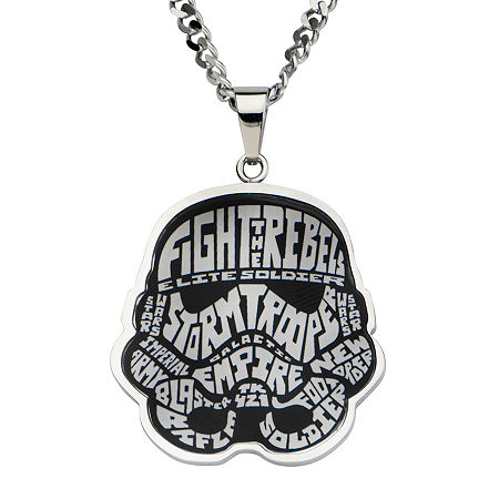 Star Wars Stormtrooper Mens Stainless Steel Pendant Necklace, One Size , No Color Family