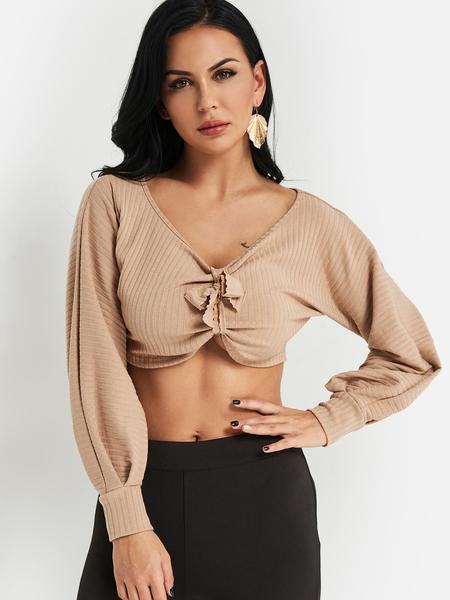 Yoins Khaki Self-tie Design Deep V Neck Knitted Crop Sweatshirt