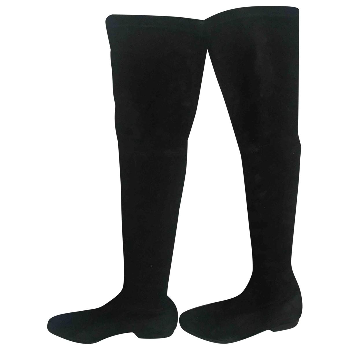 Robert Clergerie \N Black Suede Boots for Women 39 EU