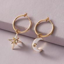 1pair Rhinestone Decor Star & Moon Dangle Earrings