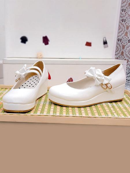 Milanoo Sweet Lolita Footwear Bows Patent PU Upper Wedge Heel Lolita Pumps