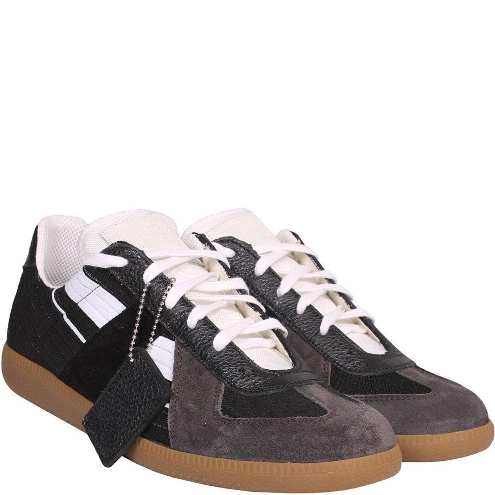 Maison Margiela Replica Suede And Leather Sneakers Multi Colour: BLACK