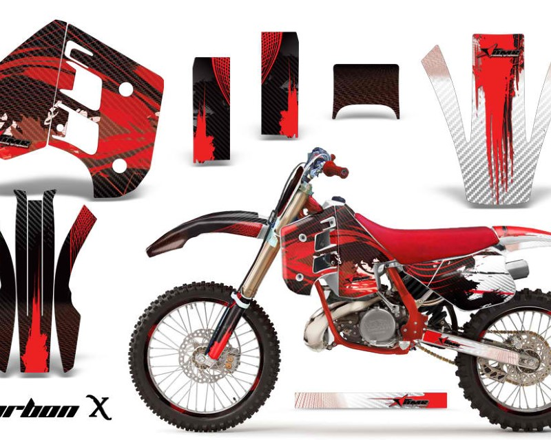 AMR Racing Graphics MX-NP-KTM-C8-90-92-CX R Kit Decal Wrap + # Plates For KTM EXC250 EXC300 MXC250 MXC300 1990-1992áCARBONX RED