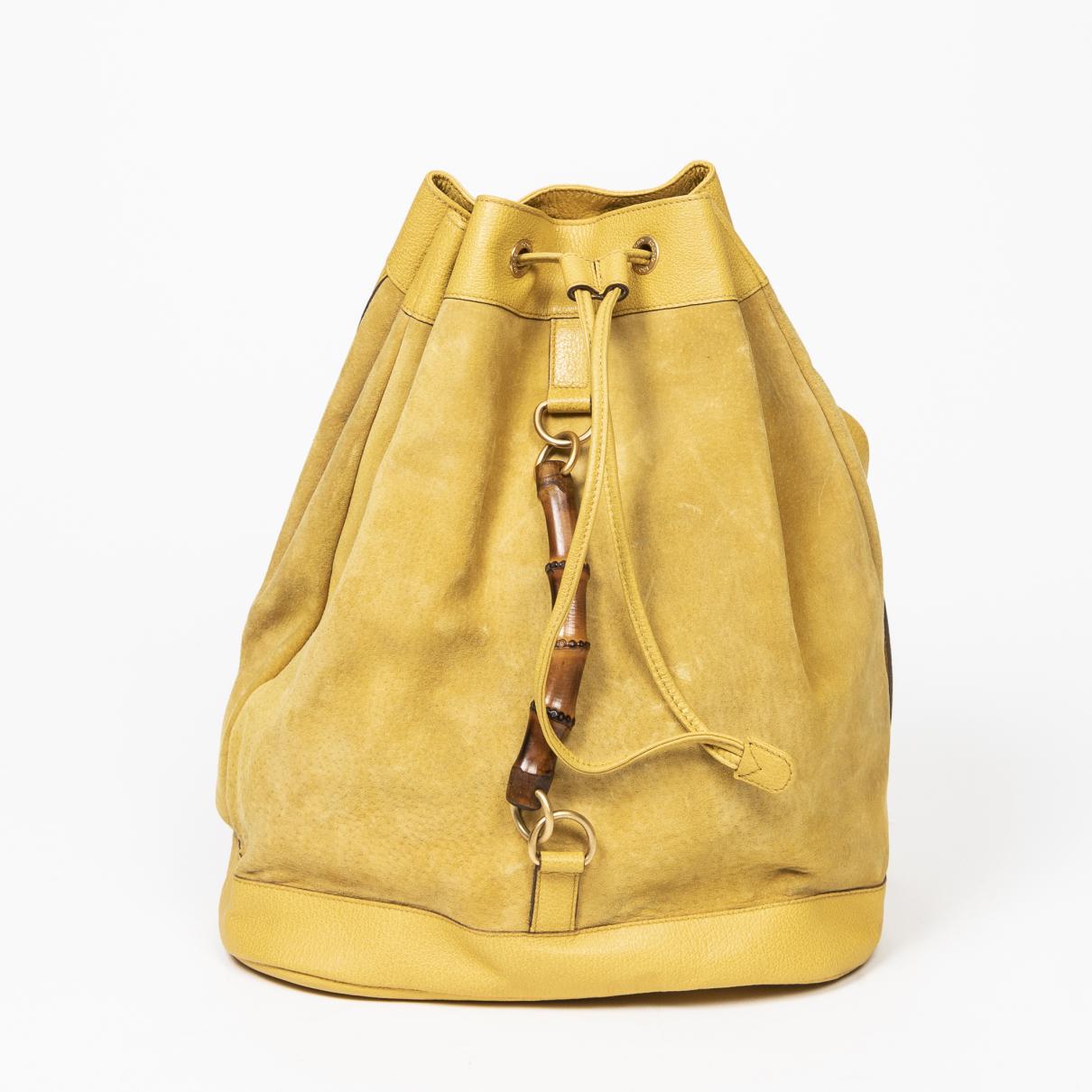 Gucci - Sac a main Bamboo pour femme en cuir - jaune
