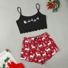 Christmas Print Lettuce Trim Cami Top With Shorts Pajama Set