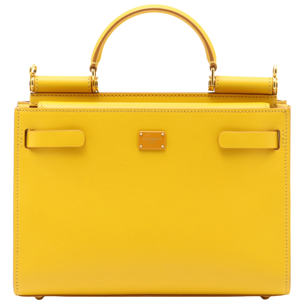 Non Signé / Unsigned N Yellow Leather handbag for Women N