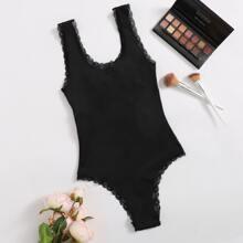 Lace Trim Lace-up Teddy Bodysuit