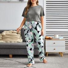 Schlafanzug Set mit Geo Muster und Knoten vorn