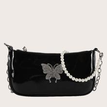 Girls Butterfly Appliques Baguette Bag