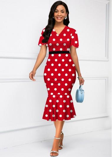 Party Dress V Neck Short Sleeve Polka Dot Mermaid Dress - XS