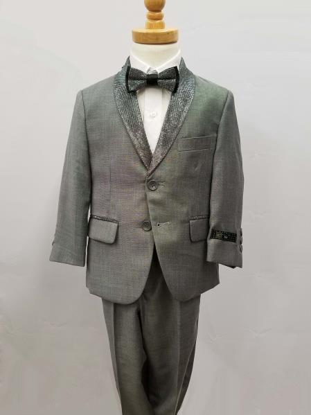 Mens Single Breaste Shawl Lapel Suit Silver
