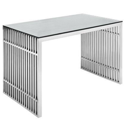 EEI-1450-SLV Gridiron Stainless Steel Office Desk in Silver