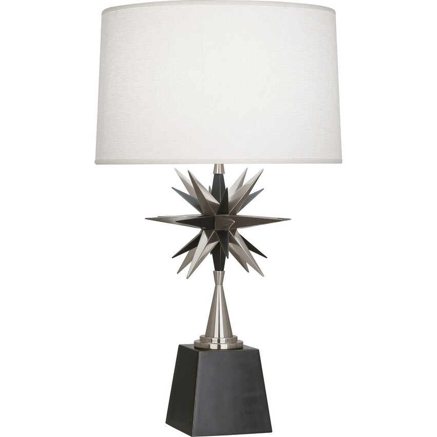 Robert Abbey S1015 One Light Table Lamp Cosmos Deep Patina Bronze w/ Antique Silver - One Size (One Size - Clear)