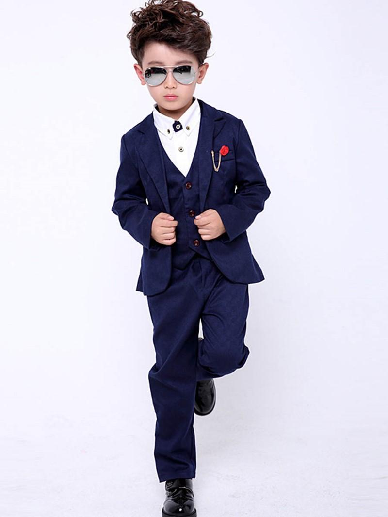 Ericdress Plain One Button Blazer Vest Pants Boy's 3 Pieces Suit