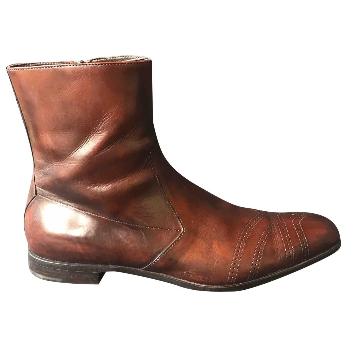Prada \N Brown Leather Boots for Men 10 UK