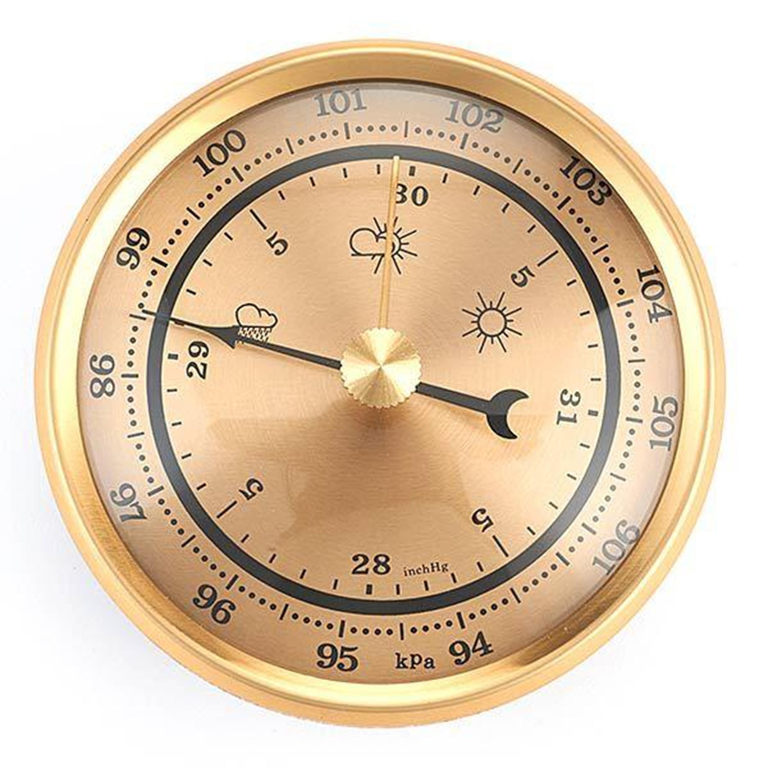 Barometer w/Brushed Gold Dial and Brushed Gold Bezel