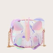 Bolso bandolera de niñas con diseño de mariposa holografica