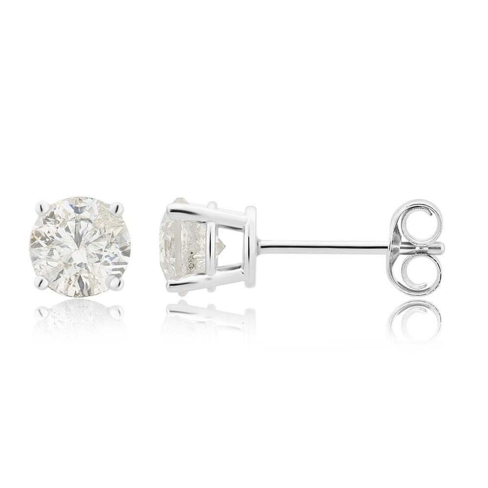 Divina 14KT White Gold 2.00ct TDW Round Diamond Stud Earrings (White)