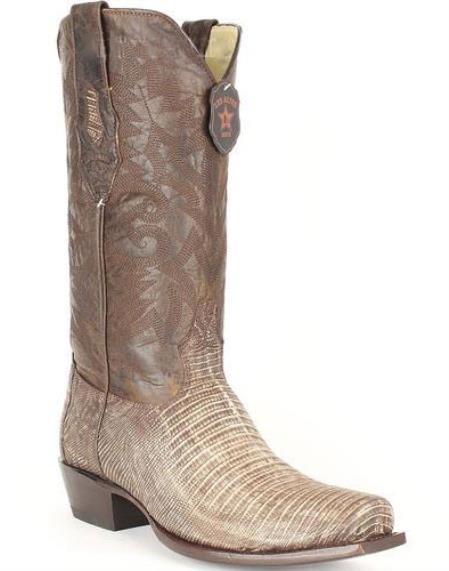 Men's Sanded Brown Los Altos Genuine Teju Lizard Leather Boots