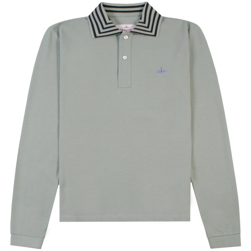Vivienne Westwood Multi Stripe Long Sleeve Polo Colour: GREEN, Size: LARGE