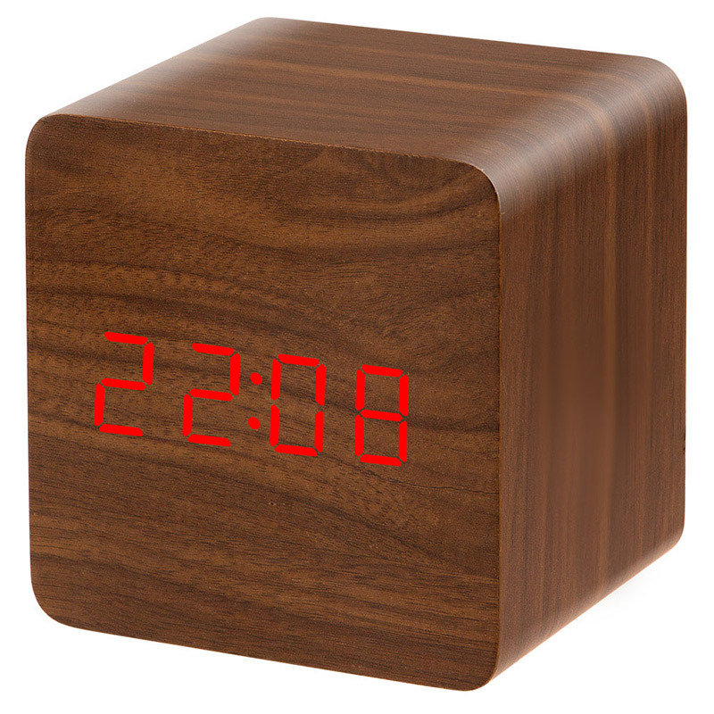 LED Display Voice Activated Electronic Wooden Alarm Clock Temp Display Off Memory Function
