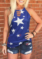Star Hollow Out Tank - Blue