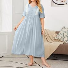 Plus Lace Trim Button Front Nightdress