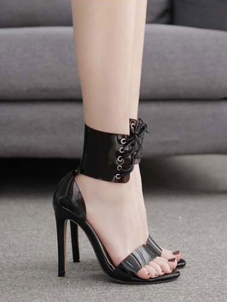 Milanoo High Heels Open Toe Stiletto Heel Metal Details Chic Black