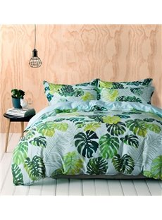 60S Brocade Egyptian Cotton bedding sets Designer Style Emerald Green Tropical Leaves Reactive Printed 4-Piece Breathable Zipper Bedding Sets