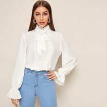 Flounce Sleeve Lace Insert Frilled Tie Neck Top
