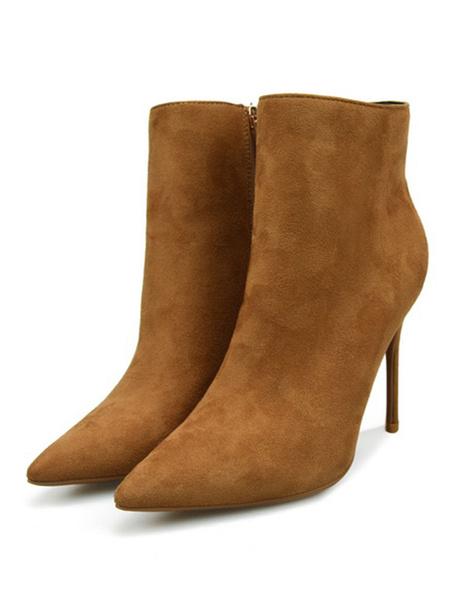 Milanoo Suede Ankle Boots Burgundy Pointed Toe Zip Up High Heel Booties For Women