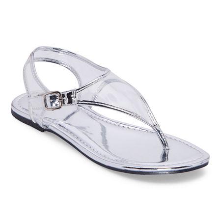 Mixit Womens Slate T-Strap Flat Sandals, 5 1/2 Medium, Silver