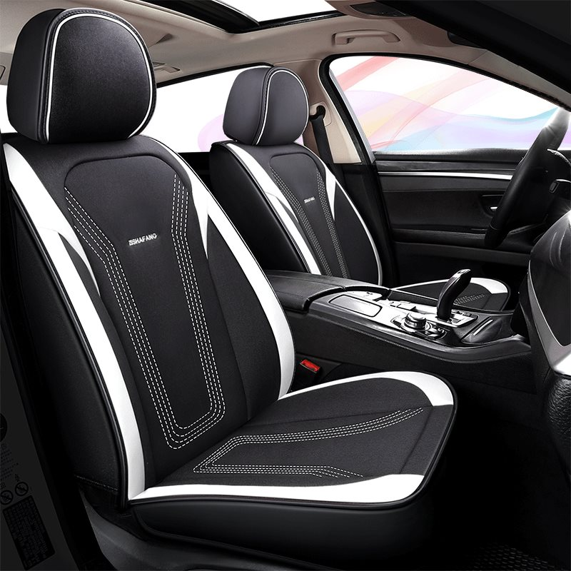 TIGER Pattern Sport Style Fresh Breathable Flax Material No Pollution No Smell Easy Cleaning 5 Seats Universal Fit Seat Covers