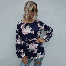 Floral Print Bishop Sleeve Peplum Blouse