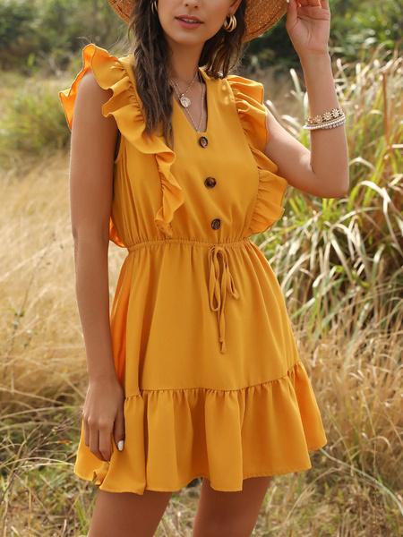 Milanoo Vestido de verano de manga corta con cuello en V abotona el lazo amarillo corto vestido de la playa