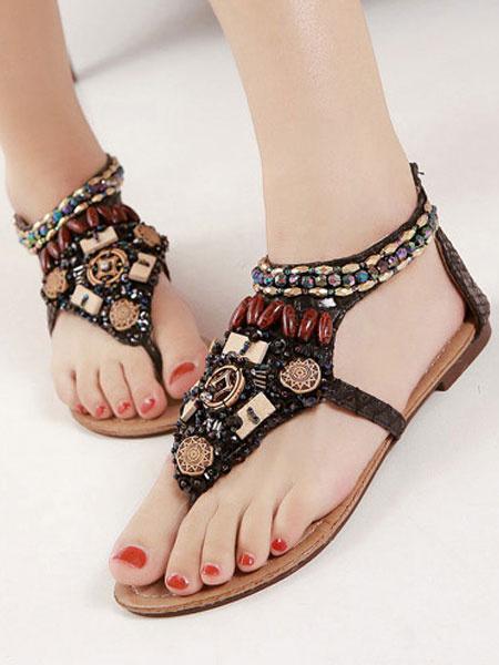 Milanoo Balck Boho Flat Sandals Thong Rhinestones Beach Sandals Women Zip Up Beach Sandals